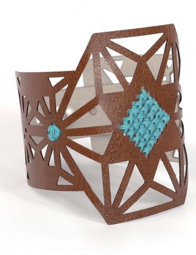 Kit bracelet à broder cuir marron motif étoile-4