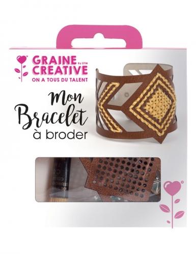 Kit bracelet à broder cuir marron motif losange