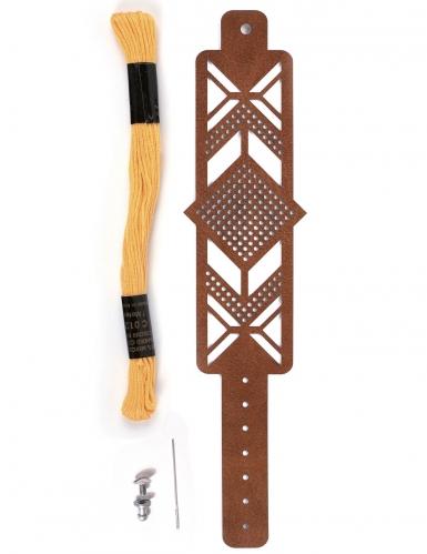 Kit bracelet à broder cuir marron motif losange-1