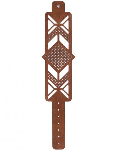 Kit bracelet à broder cuir marron motif losange-2