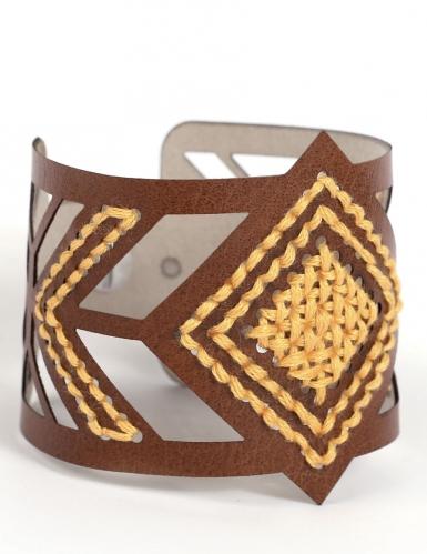 Kit bracelet à broder cuir marron motif losange-3