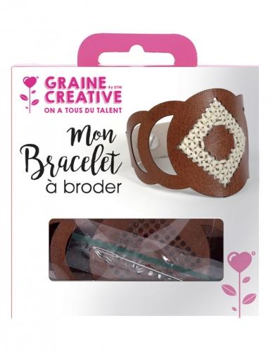 Kit bracelet à broder cuir marron motif rond