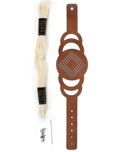 Kit bracelet à broder cuir marron motif rond-1