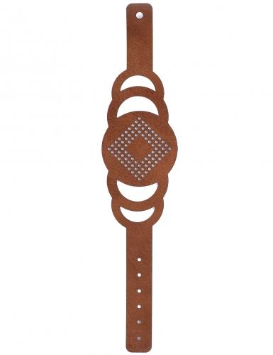 Kit bracelet à broder cuir marron motif rond-2