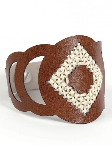 Kit bracelet à broder cuir marron motif rond-3
