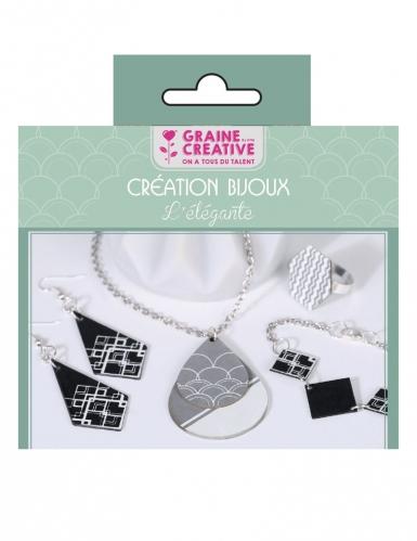 Kit création de bijoux parure chic noir et argent 12,5 x 13 cm