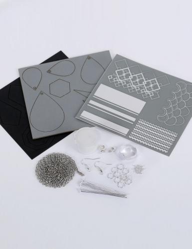 Kit création de bijoux parure chic noir et argent 12,5 x 13 cm-1