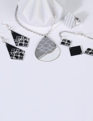 Kit création de bijoux parure chic noir et argent 12,5 x 13 cm-2