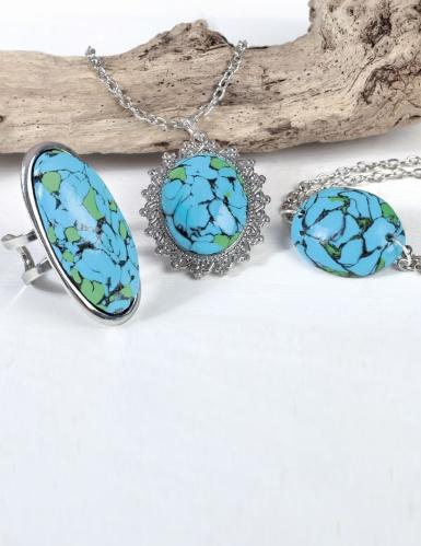 Kit création de bijoux parure pierres turquoises 12,5 x 13 cm-1