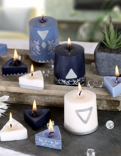 Kit création de bougies géométriques blanches et bleues-1