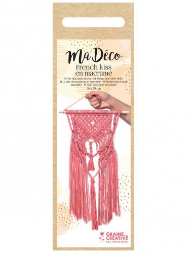 Kit macramé suspension bohème rose 30 x 50 cm-1