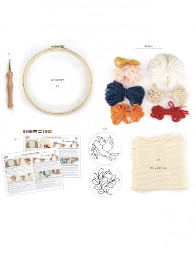 Kit de broderie Punch needle diptyque oiseau et feuille 15 cm-1