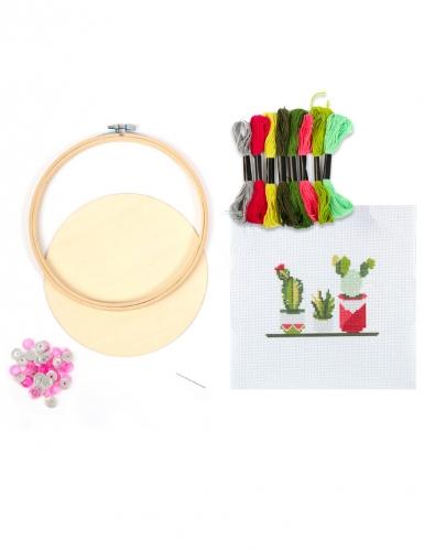Kit tambour à broder Cactus 15,5 cm-1