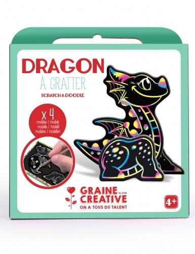 Boîte 4 animaux à gratter 3D Dragon 15 x 14,5 cm