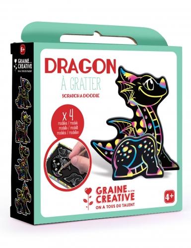 Boîte 4 animaux à gratter 3D Dragon 15 x 14,5 cm-1