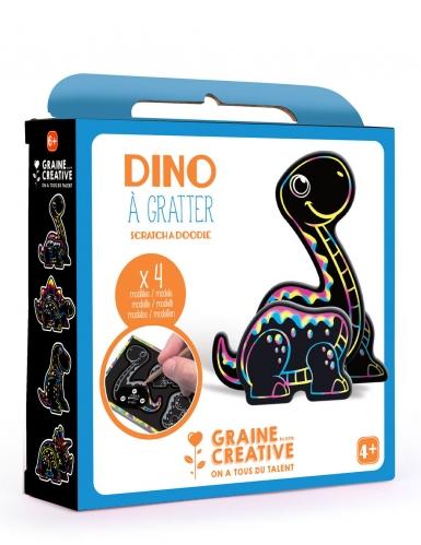 Boîte 4 animaux à gratter 3D Dino 15 x 14,5 cm-1