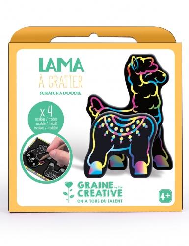Boîte 4 animaux à gratter 3D Lama 15 x 14,5 cm