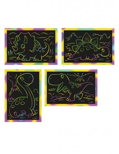 4 Cartes à gratter Dino 10 x 16 cm
