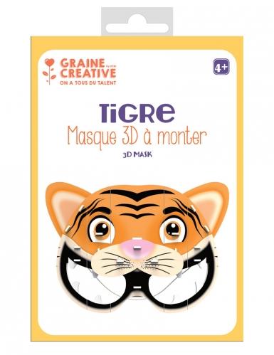 Masque 3D à monter en carton Tigre 16 x 23 cm