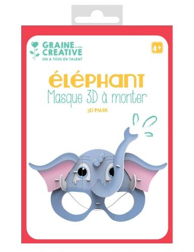Masque 3D à monter en carton Elephant 16 x 23 cm