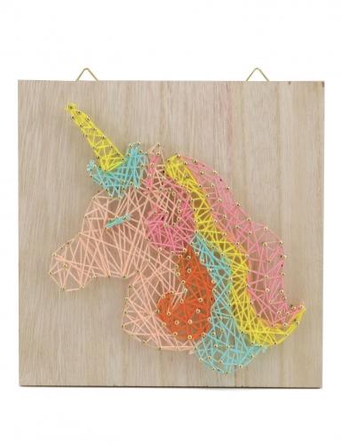Tableau string art en bois à réaliser Licorne 22 x 22 cm