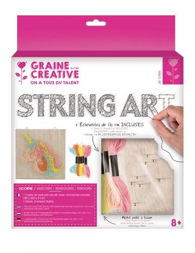 Tableau string art en bois à réaliser Licorne 22 x 22 cm-1