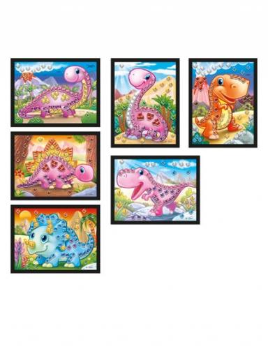 6 Cartes mosaïque holographiques Dino 10 x 16 cm