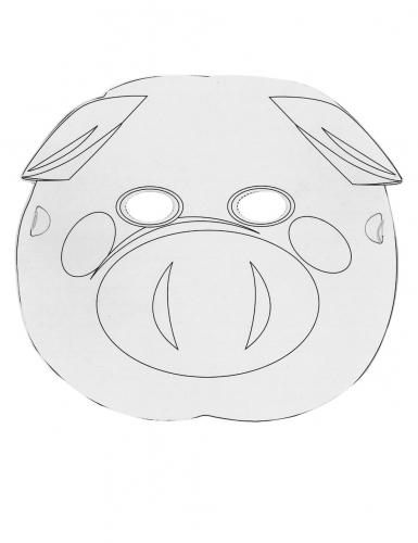6 Masques plats à décorer en carton Petits animaux-1