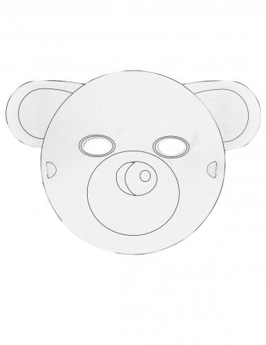 6 Masques plats à décorer en carton Petits animaux-2
