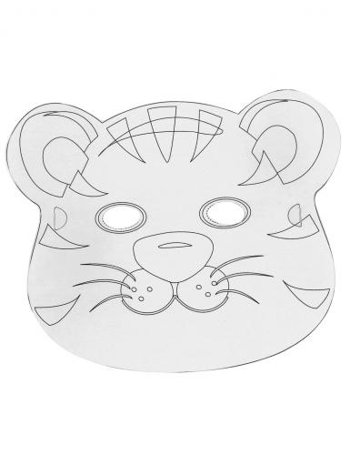6 Masques plats à décorer en carton Petits animaux-3