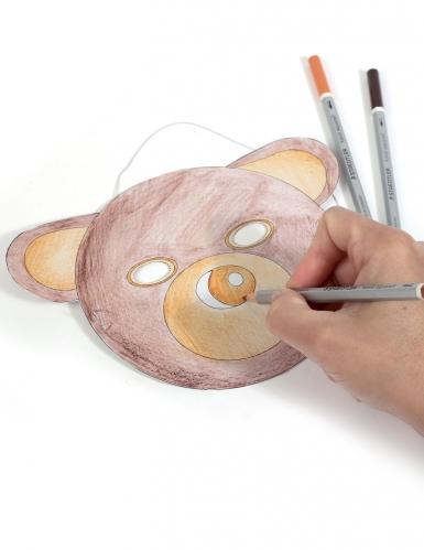 6 Masques plats à décorer en carton Petits animaux-5