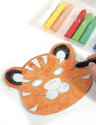 6 Masques plats à décorer en carton Petits animaux-6