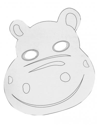 6 Masques plats à décorer en carton Petits animaux-4