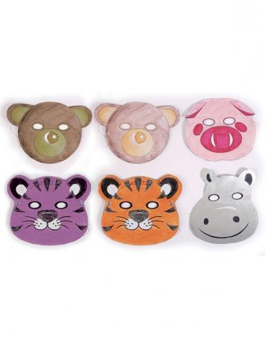6 Masques plats à décorer en carton Petits animaux-7