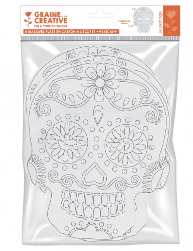 6 Masque plats à décorer en carton Tête mexicaine