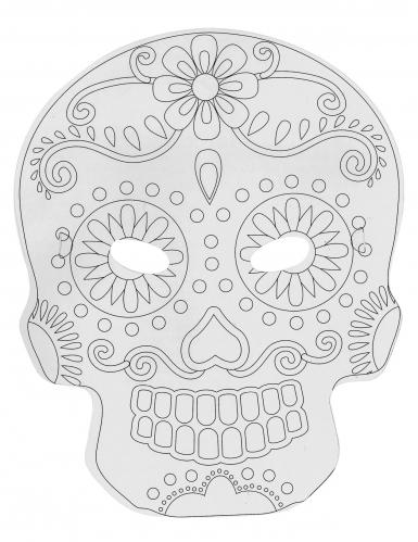 6 Masque plats à décorer en carton Tête mexicaine-1
