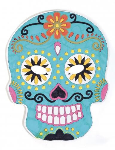 6 Masque plats à décorer en carton Tête mexicaine-2