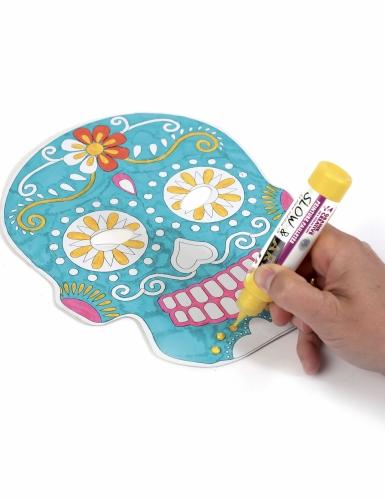 6 Masque plats à décorer en carton Tête mexicaine-4