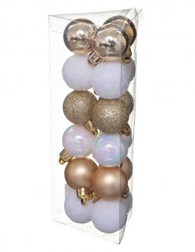 18 Boules de noël blanc et or 3 cm