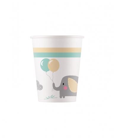 8 Gobelets en carton bébé Eléphant 200 ml