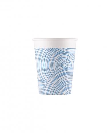 8 Gobelets en carton blue circles 200 ml