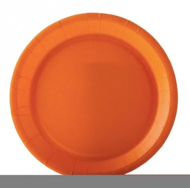 10 Assiettes en carton orange 22 cm