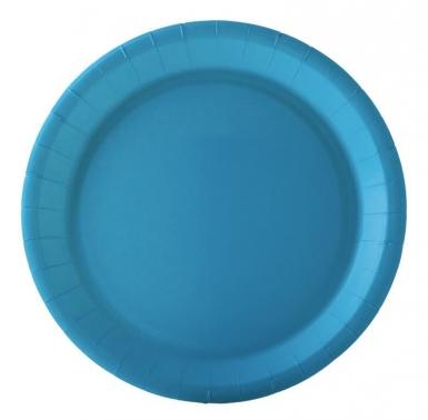 10 Assiettes en carton turquoise 22 cm