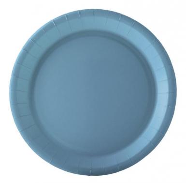 10 Assiettes en carton bleu pastel 22 cm
