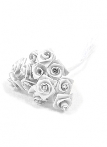 48 Mini roses satin blanches 1 x 8 cm