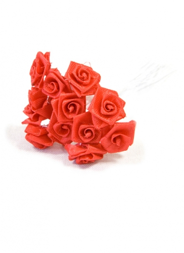 48 Mini roses satin rouges 1 x 8 cm