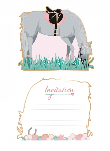 8 Cartes d'invitation Cheval 13 cm
