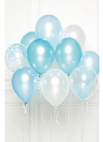 Bouquet 10 ballons en latex bleu DIY 27 cm