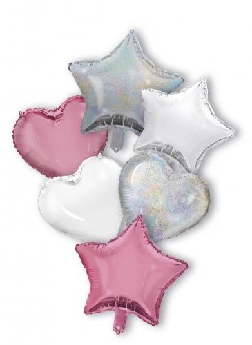 Bouquet 6 Ballons rose argenté cœurs et étoiles 6 X 1,5 m