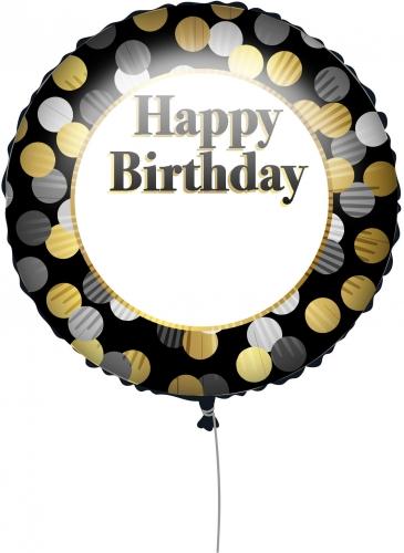 Ballon personnalisable Happy Birthday Noir et Or 43 cm